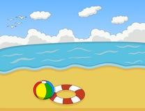 海滩动画片传染媒介例证 库存图片