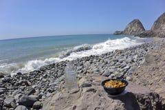 海滩午休 库存图片