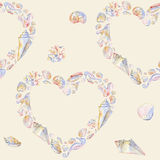 海贺卡 贝壳心脏无缝的样式 皇族释放例证