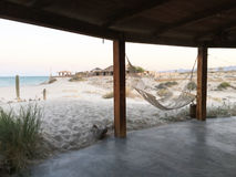 海滩吊床在墨西哥 库存照片