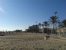 海滩和天空在西班牙 库存照片