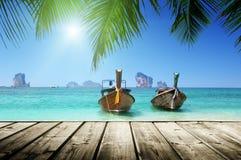 海滩和小船,安达曼海 图库摄影