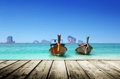 海滩和小船,安达曼海 免版税库存图片