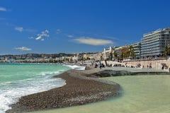 海滩和散步des Anglais,尼斯 库存照片