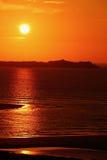海滩和日落天空 库存图片
