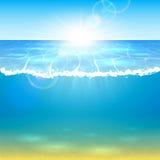 海洋和星期日 库存例证