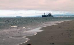 海滩和波浪与货轮在距离 免版税库存照片