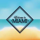 海滩和海象 迈阿密佛罗里达设计 背景装饰图象风格化漩涡向量挥动 皇族释放例证