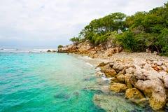 海滩和热带手段, Labadee海岛,海地 免版税库存图片