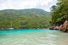 海滩和热带手段, Labadee海岛,海地 库存图片