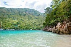 海滩和热带手段, Labadee海岛,海地 免版税图库摄影