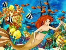 海洋和美人鱼 免版税库存图片