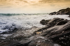 海滩和蓝色海运 免版税库存照片