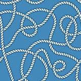 海洋绳索和结无缝的样式 图库摄影