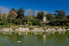 海洋喷泉海岛喷泉的, Boboli庭院,佛罗伦萨 库存图片