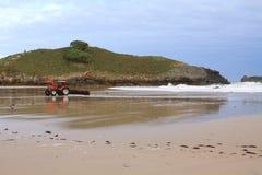 海滩在利亚内斯村庄附近的巴尔科罗拉多岛 库存照片