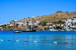 海滩在博德鲁姆,土耳其 库存图片