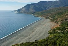 黑海滩在可西嘉岛 库存图片