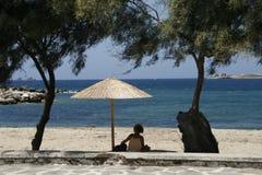 海滩在夏天晴天 免版税图库摄影