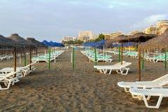 海滩在托雷莫利诺斯角,西班牙 库存图片