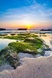 海滩在日落的风景图象 库存图片