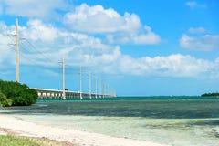 海洋在有蓝天的桥梁下 库存照片