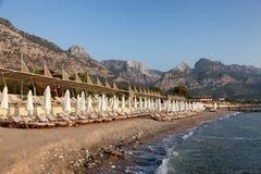海滩在没有休息的土耳其 库存照片