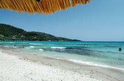 海滩在萨索斯岛海岛-希腊 库存图片