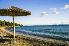 海滩在西部希腊 图库摄影