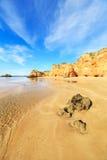 海滩在阿尔加威地区,葡萄牙 免版税图库摄影