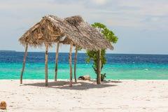 海滩在马尔代夫 免版税库存照片