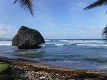 海滩在Barbatos 免版税库存照片