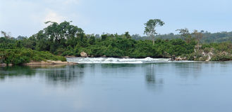海滨在Jinja附近的尼罗省风景在乌干达 库存图片