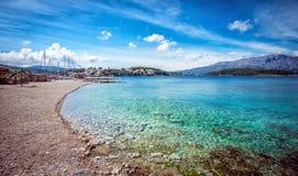 海滩在Lumbarda在克罗地亚 库存图片