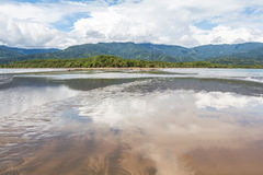 海滩在Marino Ballena Parc,哥斯达黎加 图库摄影