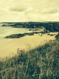 海滩在Newquay康沃尔郡 免版税库存照片