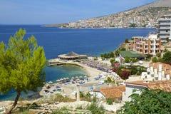 海滩在Saranda,阿尔巴尼亚 库存照片