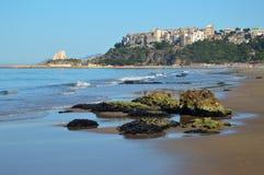海滩在Sperlonga,意大利 库存图片