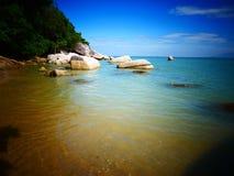 海滩场面在槟榔岛,马来西亚 库存图片