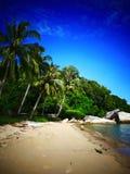 海滩场面在槟榔岛,马来西亚 图库摄影