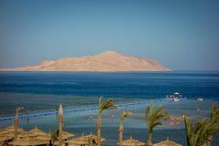 海滩场面度假胜地埃及海湾 库存图片