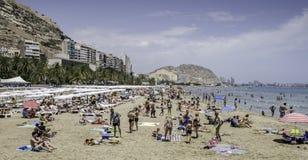 海滩场面,阿利坎特,西班牙 图库摄影