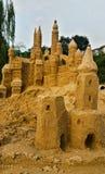 海滩城堡做沙子雕刻形状 免版税库存照片