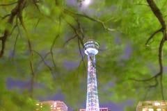 海洋塔如被看见从Yamashita公园在横滨,日本 免版税库存图片