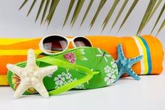 海滩夏天静物画 库存照片