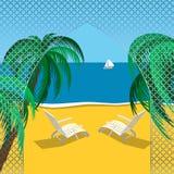 海滩夏天风景 免版税库存照片