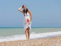 海滩妊妇 图库摄影