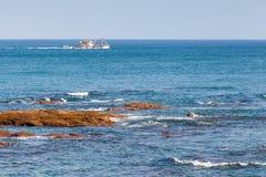 海滩小船danang捕鱼nam viet 大西洋顶视图 更加气味强烈的摩洛哥 免版税库存照片