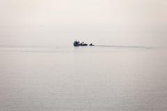 海滩小船danang捕鱼nam viet 库存图片