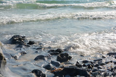 海滩岩石海浪 库存图片